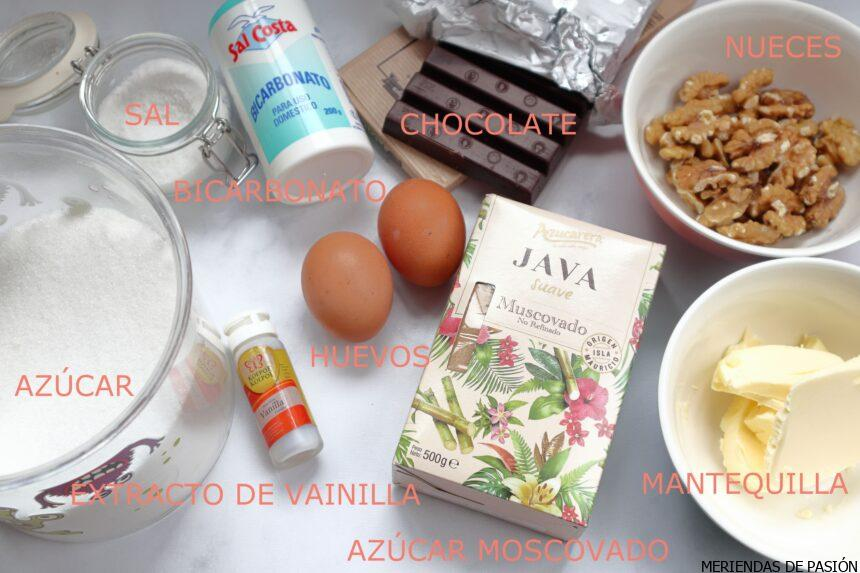 Ingredientes cookies chocolate