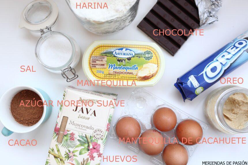Brownie oreo y crema de cacahuete